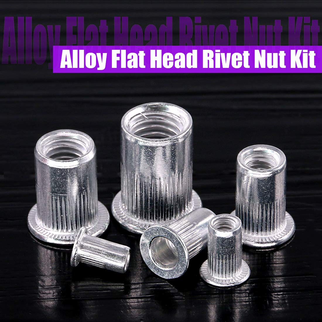 Swpeet 110Pcs Aluminum Alloy Flat Head Rivet Nut Kit, Including Assorted M3 M4 M5 M6 M8 M10 Aluminum Treaded Insert Nutsert Perfect for Providing High Strength Load Bearing Threads by Swpeet (Image #5)