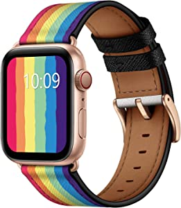 OUHENG Compatible with Apple Watch Band 44mm 42mm, Genuine Leather Band Replacement Strap Compatible with Apple Watch Series 6/5/4/3/2/1/SE, Rainbow Band with Rose Gold Adapter
