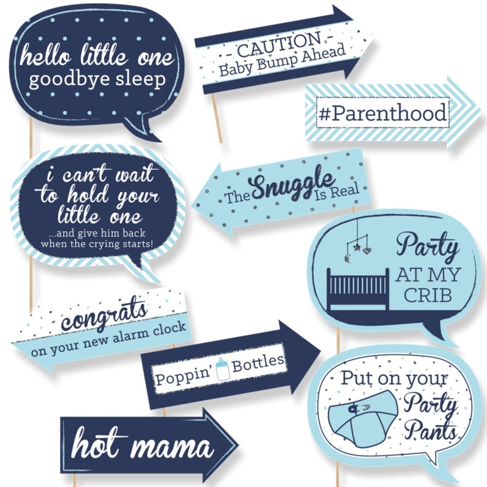 Amazon.com: Big Dot of Happiness Funny Blue and Silver - Hello Little One -  Boy Baby Shower Photo Booth Props Kit - 10 Piece: Toys & Games