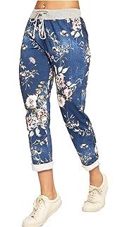 b0e4c25ed2c Fashion Lovers Womens Ladies Italian Floral Rose Printed Turn Up Trousers  Summer Beach Trouser…