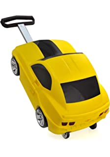 Kids Travel Luggage Trolley Suitcase Bag Pull Along Cheverolet Camaro Car Shape Yellow Colour For Boys