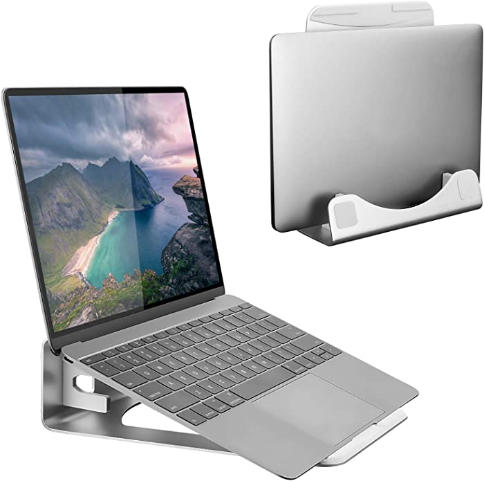 Mount-It! Vertical Laptop Stand - Aluminum Vertical Laptop Holder | 2 in 1 Laptop Riser for Desk | Vertical MacBook Stand for MacBook Air, MacBook Pro