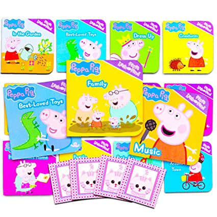 Peppa Pig Board Books Set For Toddlers Babies Kids Pack Of 12 My First Books With Stickers Family Friends Music And More