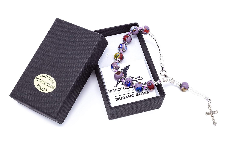 Authentic Murano Glass Bracelet Handmade In Italy Aventurine Glass Beads Hand Blown Glass