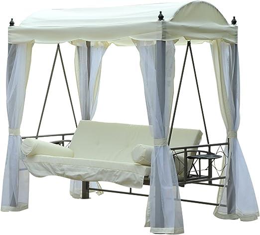 Outsunny – Balancín a cenador de jardín Convertible Columpio Silla Cama con tejado Parasol Mosquitera de poliéster Crema, 206 x 119 x 207 cm: Amazon.es: Hogar
