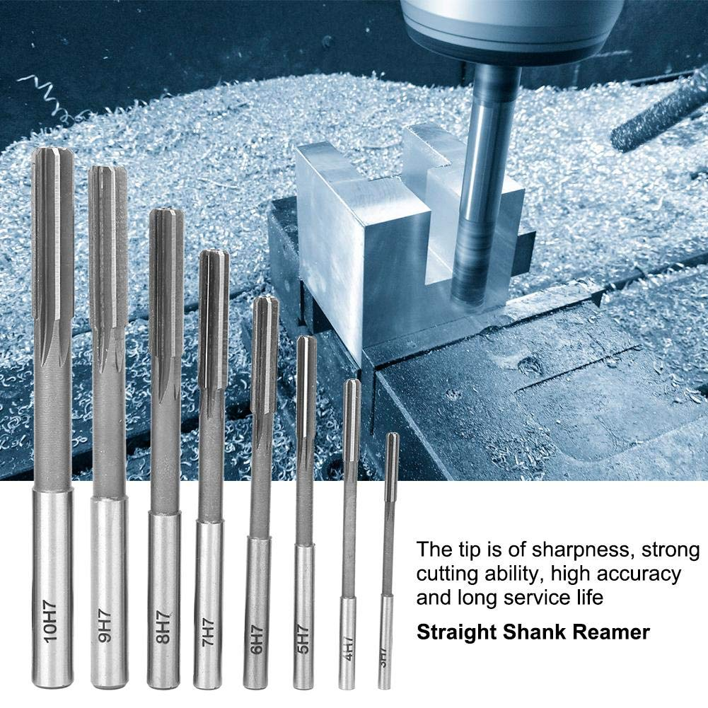 8Pcs Reamer High-Speed Steel HighA Straight Shank Reaming Tool Accessories