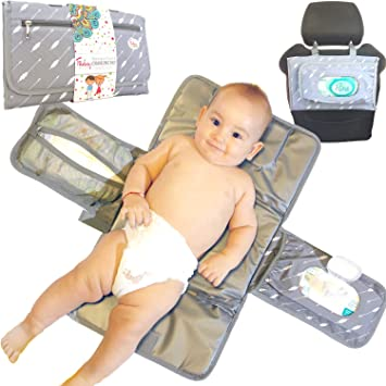 Portable Changing Pad Diaper Baby Babies Waterproof Lightweight Diapers Changing Station Compact Clutch Foldable for Travel with Built-in Head Cushion and Pockets for Wipes Baby Boy Girl Shower Gift