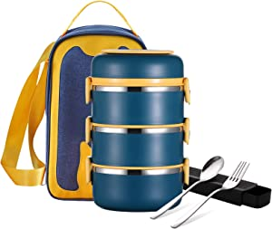 YBOBK HOME Lunch Box Set with Utensils and Bag, Stackable Stainless Steel Thermal Leakproof Cylinder All-in-one Bento Lunch Box Container with Compartments for Men and Women (4-Layer, Turquoise)