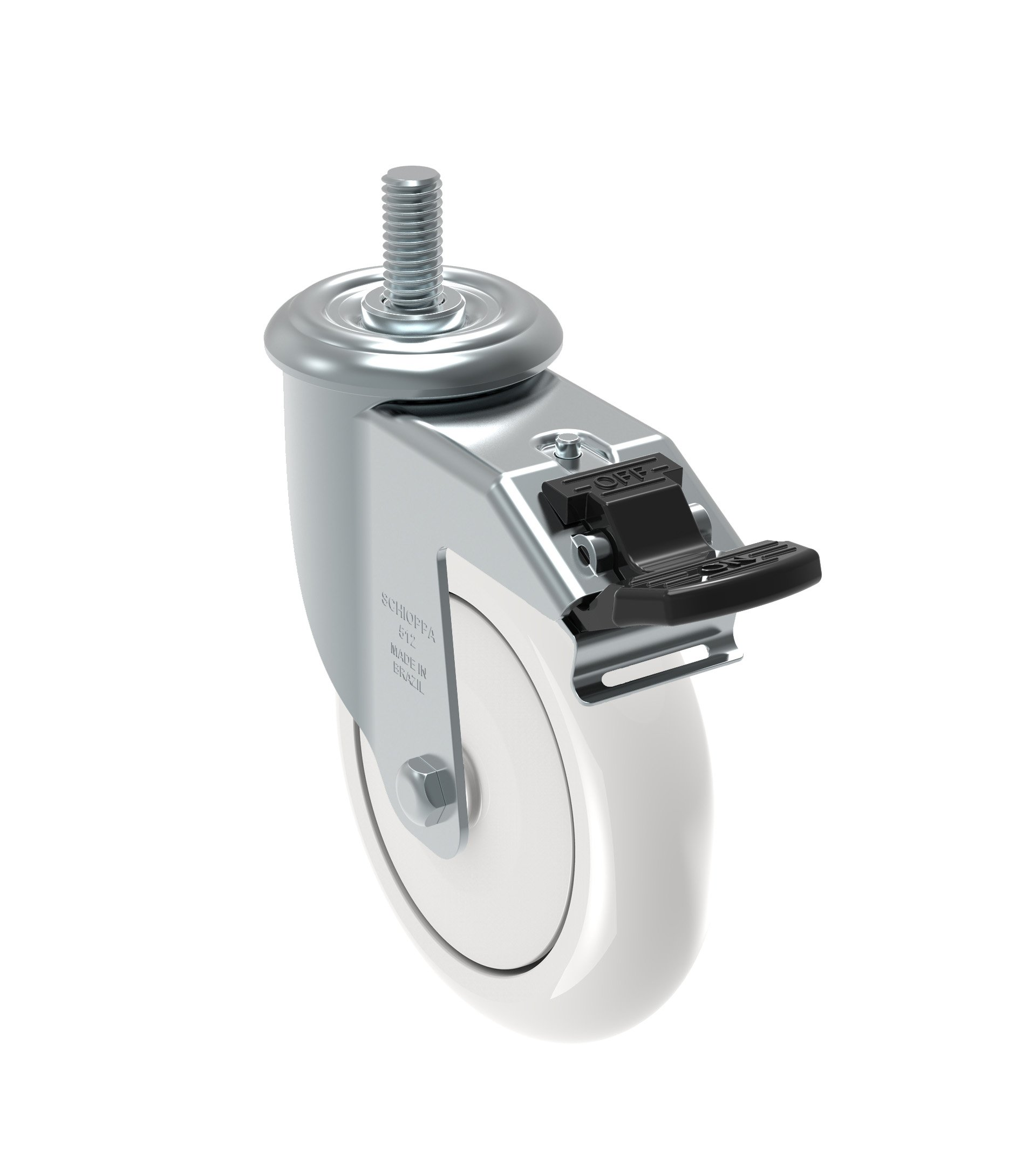 Schioppa GLEEF 512 NTE G L12 Series 5'' x 1-1/4'' Diameter Swivel Caster with Total Lock Brake, Non-Marking Nylon Precision Ball Bearing Wheel, 3/8'' Diameter x 1-1/2'' Length Threaded Stem, 375 lb