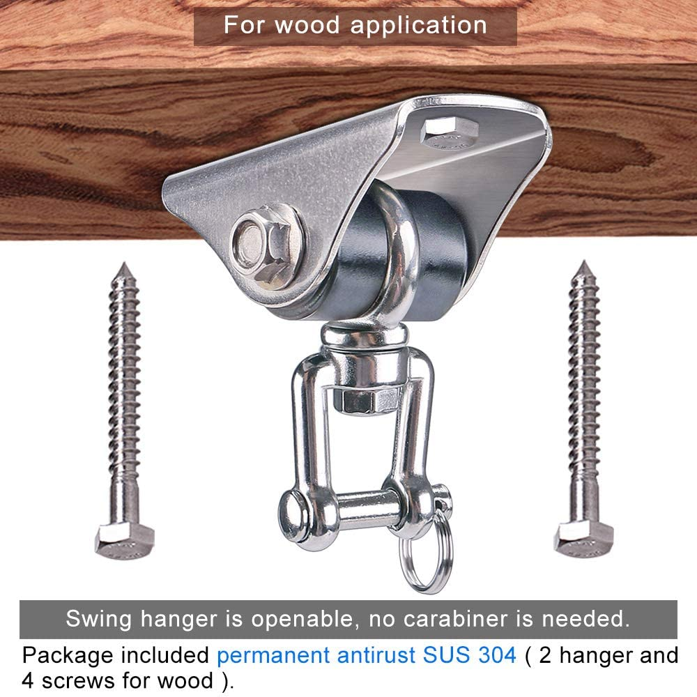 Heavy Duty Swing Hooks with 4 Screw for Concrete Wooden Hanging Hardware for Yoga Hammock Chair Gym Swing SELEWARE Set of 2 2000 lb Capacity Permanent Antirust SUS304 Silent 360/° Swivel Swing Hangers