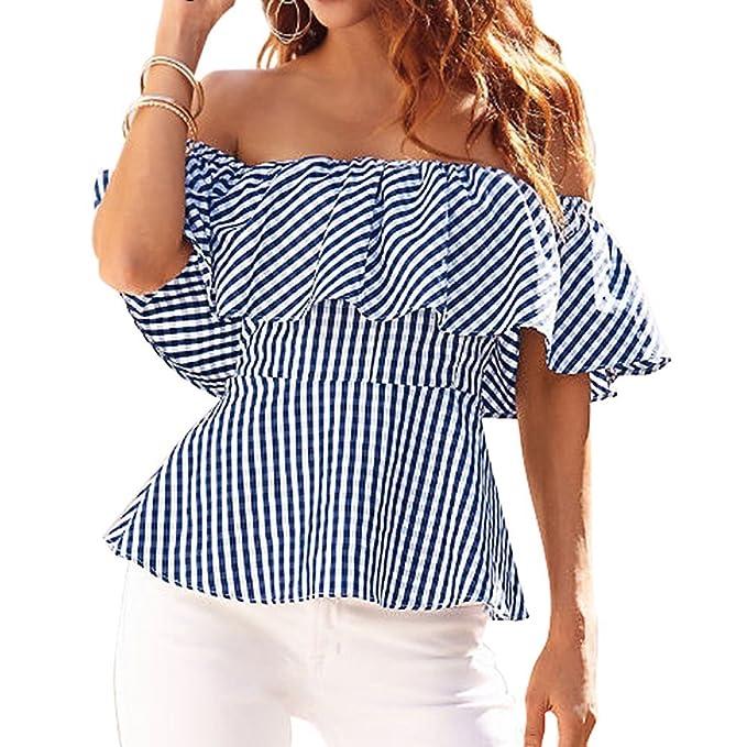 Blusas de Rayas Mujer Camisetas Sin Tirantes Hombros Descubiertos Tops Moda Casual T Shirt Manga Corta