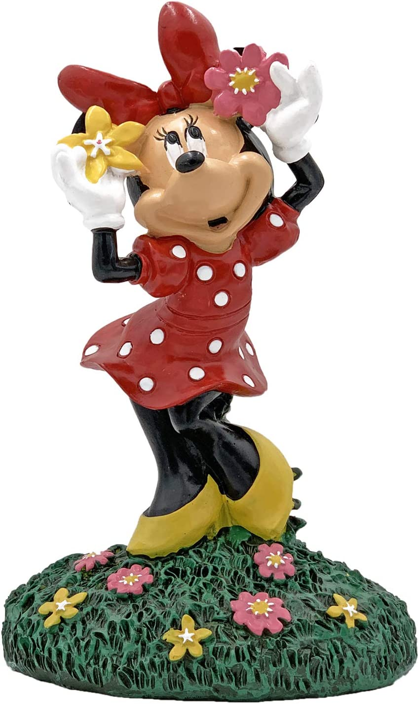 The Galway Company Oh Toodles! Minnie is Holding Flowers on her Head, Waiting for her Mickey. Outdoor Garden Statue, 8 Inches Tall by 6 inches Wide. Hand Painted, Official Disney Licensed.