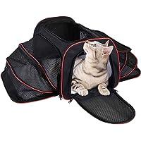 MIU PET 猫背袋可扩展双网眼柔软侧边猫旅行背带,轻便可折叠宠物旅行包,适合中小型宠物,带口袋存放物品