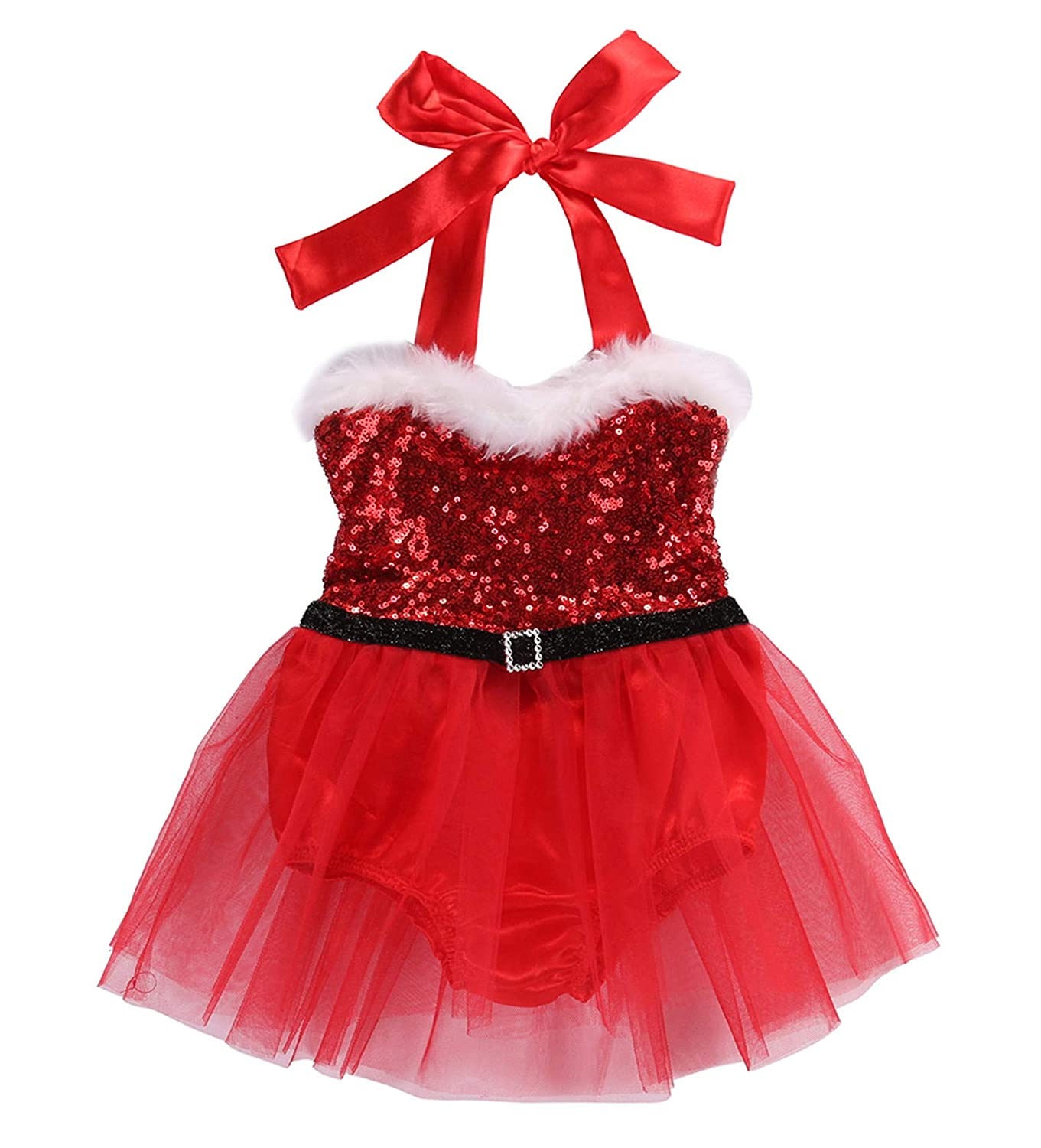 Newborn Baby Girl Rompers Dress Clothes Santa Claus Sequin Jumpsuit Christmas Outfits