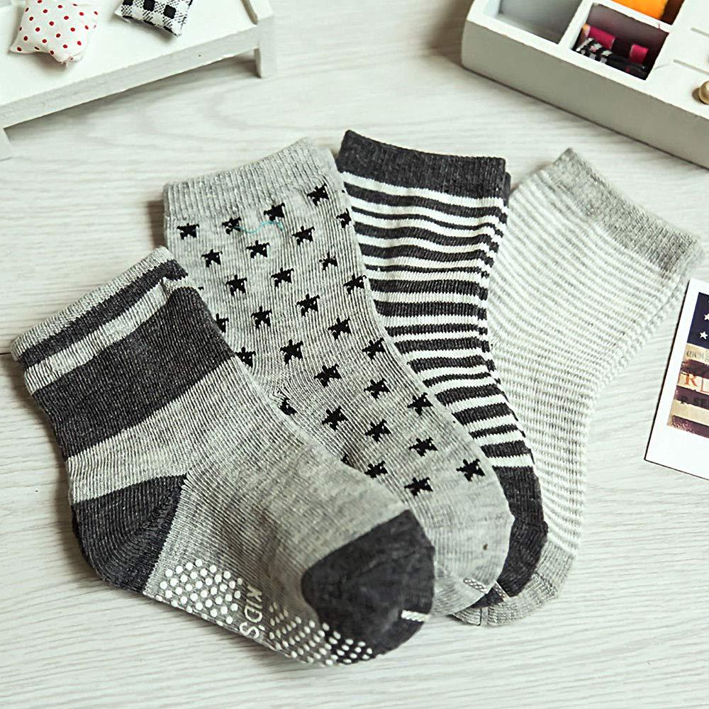 12Pairs Anti-Slip Baby Socks Infants Kids Sock Assorted Catoon Print Cotton Socks Unisex for 1-3 Years Boys Girls
