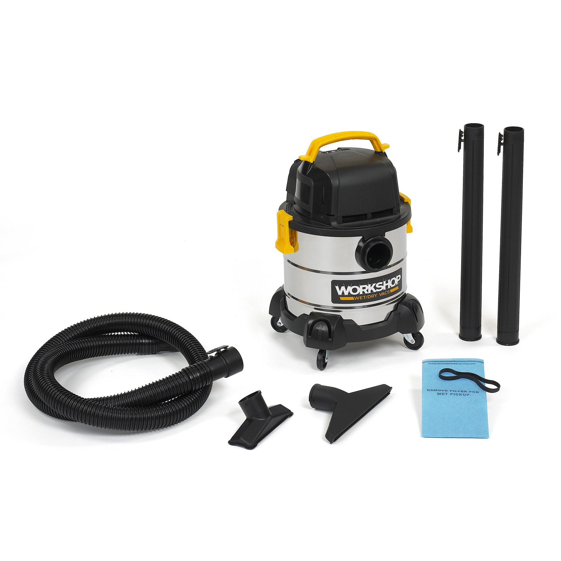 WORKSHOP Stainless Wet Dry Vac WS0400SS Stainless Steel Wet Dry Vacuum Cleaner, 4-Gallon Stainless Steel Portable Shop Vacuum Cleaner, 2.5 Peak HP Portable Wet Vac