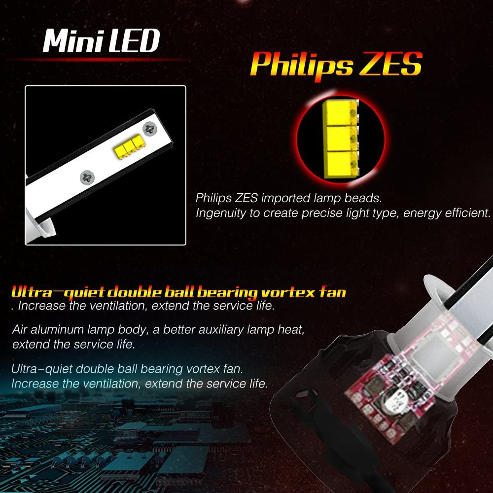 2Pcs 9005 HB3 H10 9145 LED Headlight Bulbs Conversion Kits 72W 8000LM Super Bright COB Led Chips Fog Light QIWANG HB3//9005//H10
