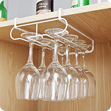 Amazoncom Kitchen Wine Glass Storage Rack Double Row Cupboard