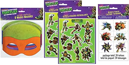 Teenage Mutant Ninja Turtles Party Favor Pack for 8 Stickers Tattoos and Masks TMNT