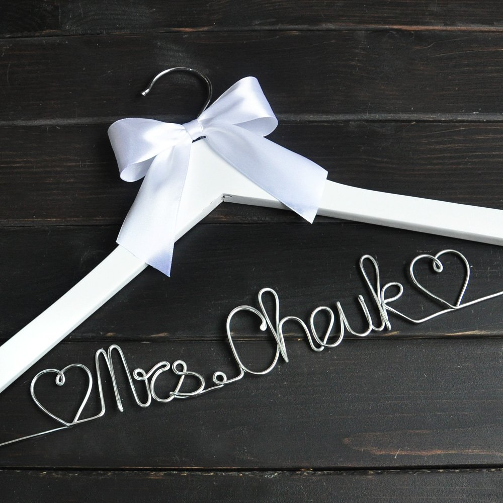 Custom Wedding Hanger with White Bow, Personalized Wedding Dress Hanger, Custom Bridal Hanger Bridal Shower Gift