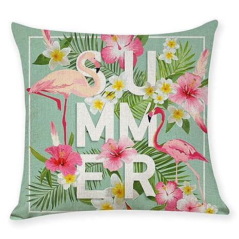 Decdeal Funda de Almohada Flamingo Funda de Almohada Funda ...