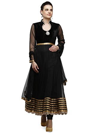 e46cfaad73 Pret A Porter Black/Gold Indian Anarkali Suit: Amazon.in: Clothing &  Accessories