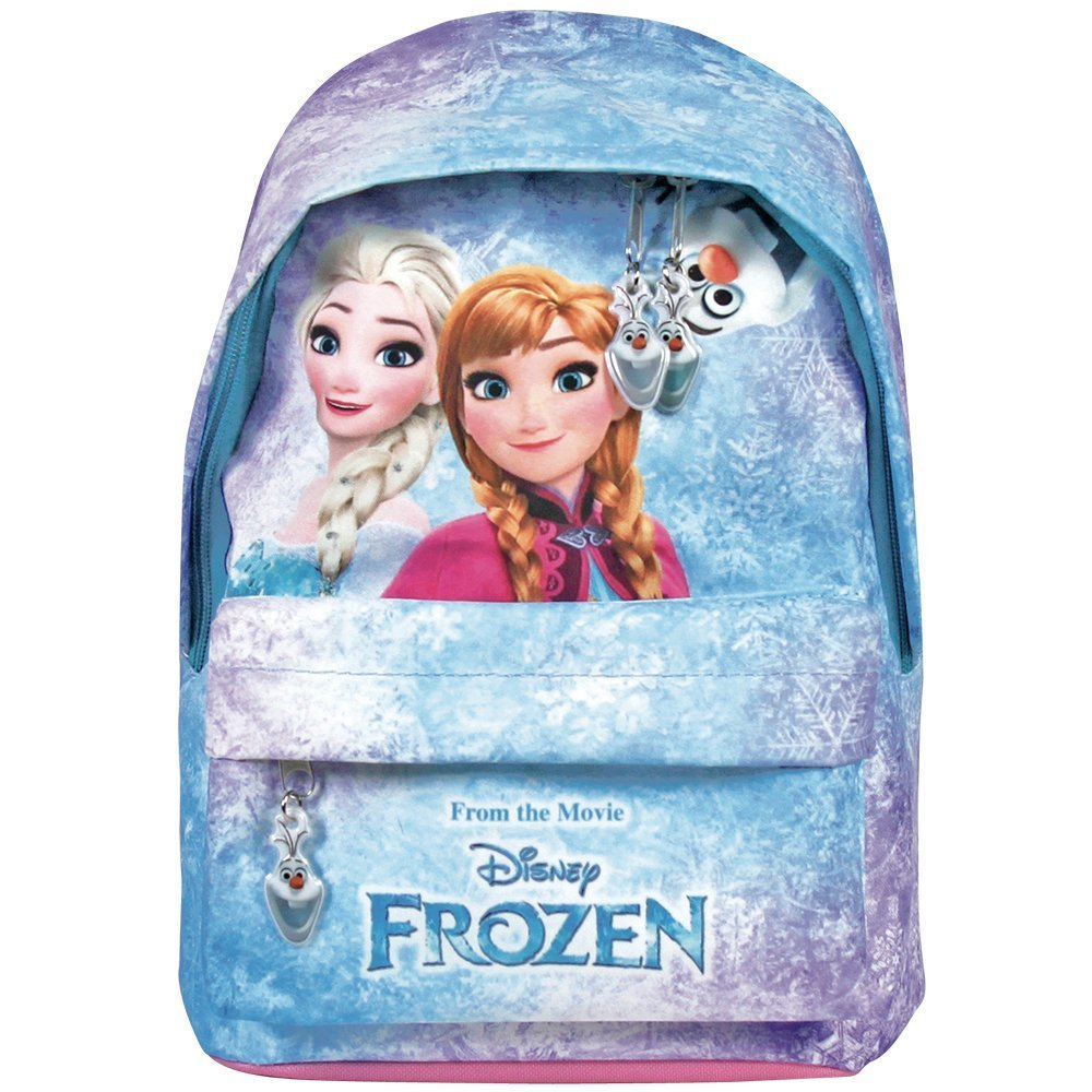 Zaino Bambina Disney Frozen - Zainetto scuola con tasca frontale con stampa di Elsa e Anna - Cartella scolastica con spallacci imbottiti regolabili - Azzurro e rosa - 29x20x8 cm - Perletti 13430