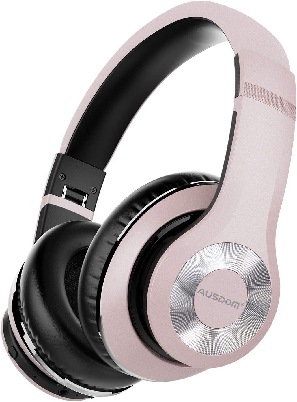 AUSDOM ANC10 Auriculares Bluetooth 5.0 con Cancelacón Activa de Ruido, Cascos Inalámbricos Bluetooth con Micrófono Hi-Fi Deep Bass,Cómodo Protein Earpads, para PC/Teléfonos Celulares/TV- Rosado
