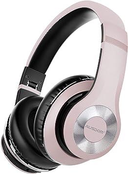 AUSDOM ANC10 Auriculares Bluetooth 5.0 con Cancelacón Activa de Ruido, Cascos Inalámbricos Bluetooth con Micrófono Hi-Fi Deep Bass,Cómodo Protein Earpads, para PC/Teléfonos Celulares/TV- Rosado: Amazon.es: Electrónica