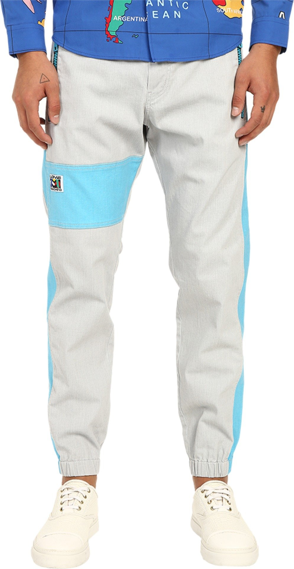 Love Moschino Men's Color Block Jogger, Grey/Azure, 54 X 29