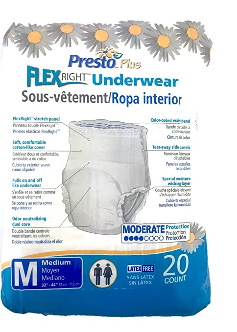 Amazon.com: PRTAUB14020 - Presto Absorbent Products Inc. Presto Flex Right Protective Underwear Medium 32 - 44 Good Absorbency: Health & Personal Care