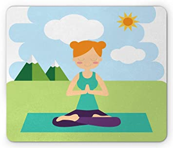 Yoga Mouse Pad, Flat Design Girl in Lotus Pose Meditating in ...