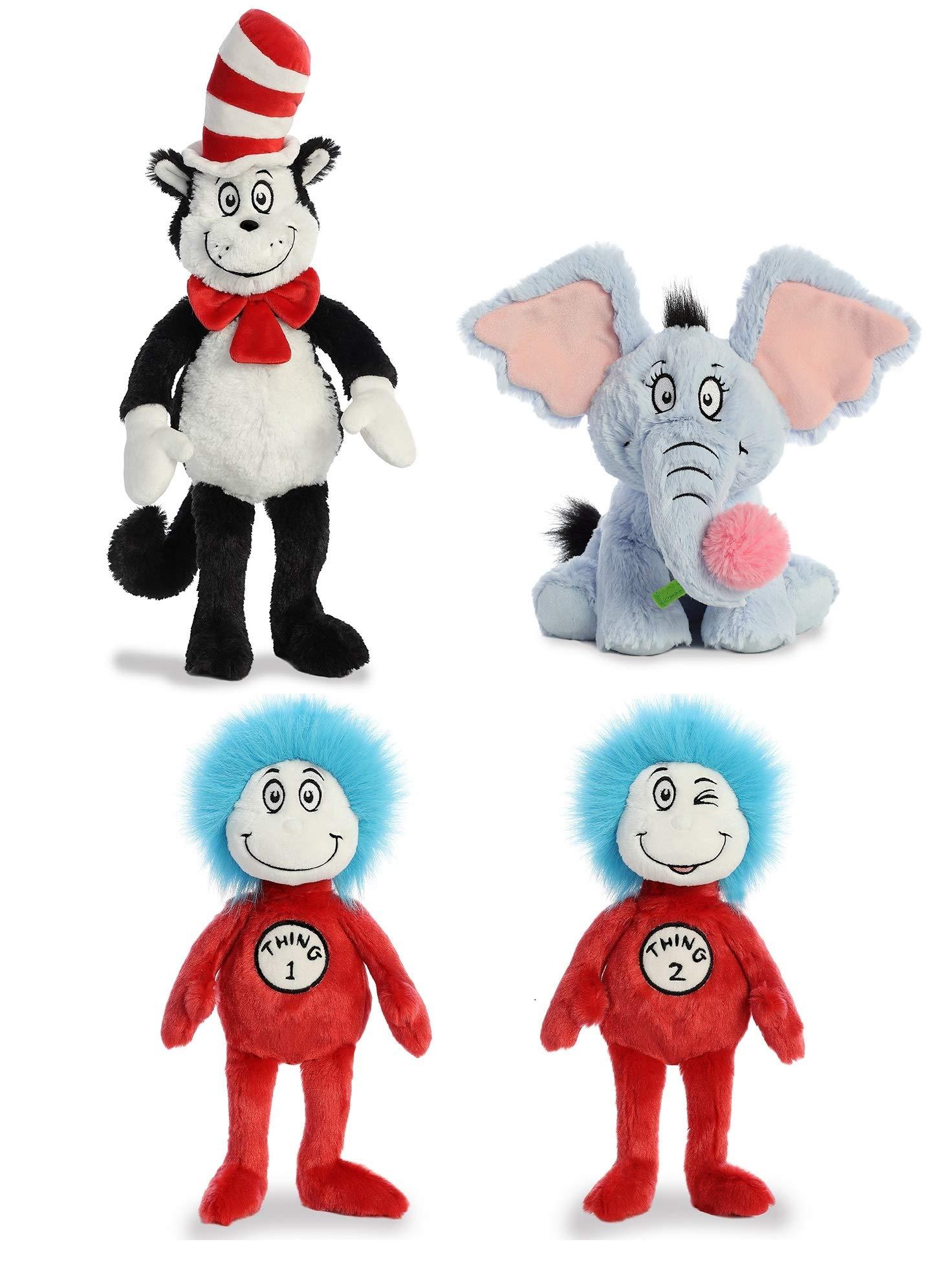 Aurora Plush Bundle Set of 4 Cat in The Hat Toys - Dr Seuss Toys 20'' Cat in The Hat Stuffed Plush, 12'' Thing 1 & Thing 2, and 12'' Horton Plush Elephant by RfR Bundles