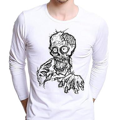 bf72756456d03 Anshinto Autumn Men Boy Plus Size Cool Skull Tees Bardian O-Neck Long Sleeve  T