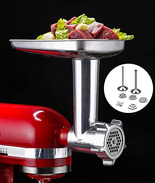 Food Grinder & Slicer Shredder Attachment Pack for KitchenAid Stand mixer, with Sausage Filler Tube, Work as Food Processor
