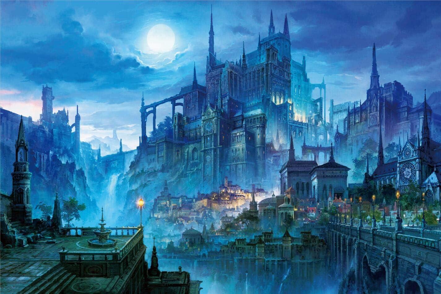 InGooooD- Tranquil Series- Castle in The Night- Basswood Jigsaw Puzzles 1000 Piezas para Adultos Entretenimiento Juguetes de Rompecabezas de Madera