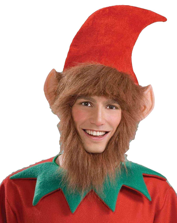 Forum Novelties Men's Costume Elf Hat with Ears Hair and Beard Multi One Size Forum Novelties Costumes 62388