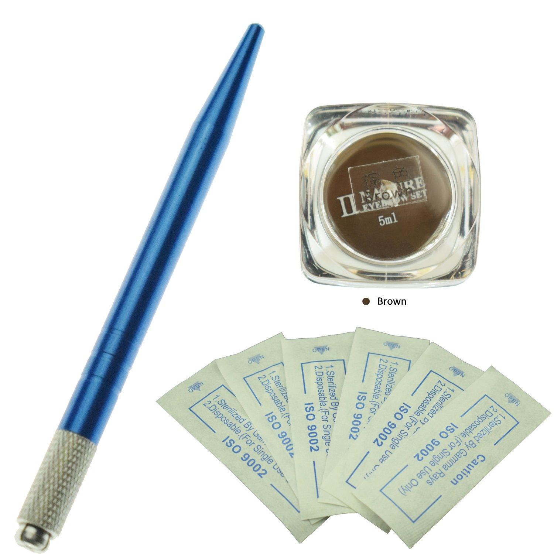 e-Life Kit professionnel de microblading de sourcil professionnel / Un stylo bleu de tatouage de microblading de sourcil manuel avec 10Pcs Aiguilles de microblading de sourcil et une bouteille Nature Pigment de microlame d'essence de plante (Café moyen) Re