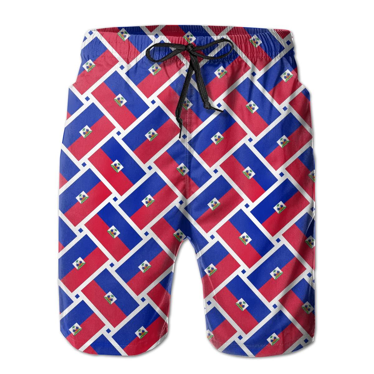 Mens Swim Trunks Haiti Flag Weave Quick Dry Beach Board Shorts with Mesh Lining