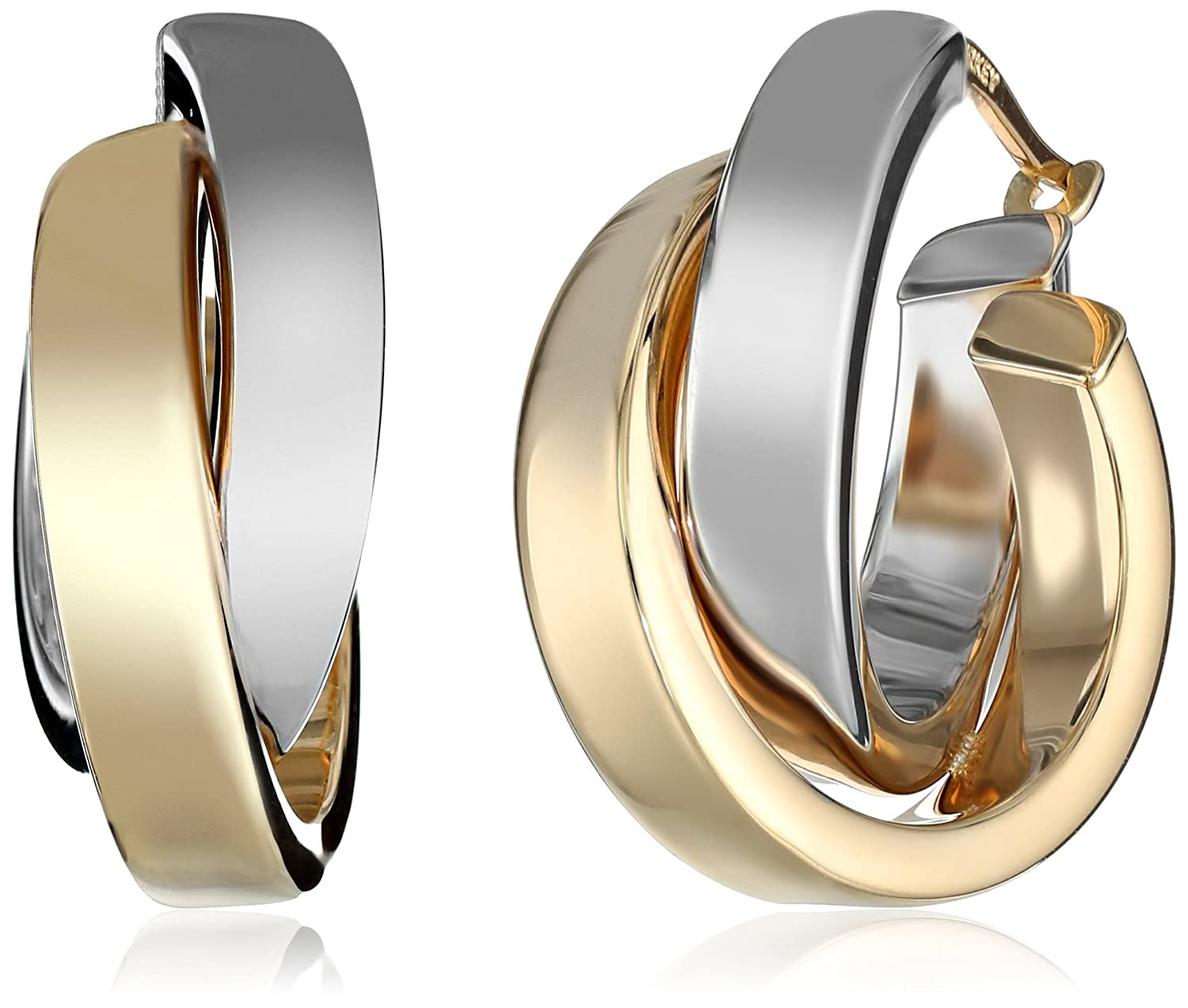 Amazon: 14k White And Rose Gold Twotone Satin And Polished Crossover Hoop  Earrings: Jewelry