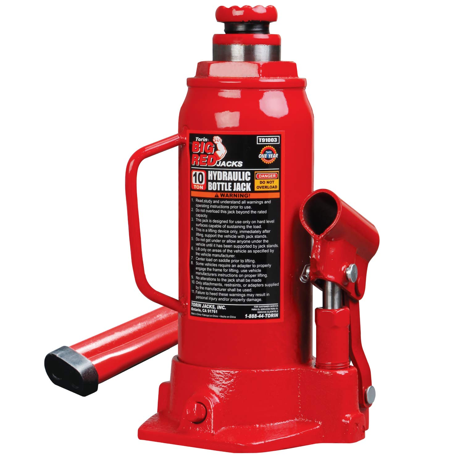 Torin Big Red Hydraulic Bottle Jack, 10 Ton Capacity by Torin