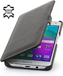 StilGut Book Type Case con clip, custodia in vera pelle per Samsung Galaxy A5 (2015), nero