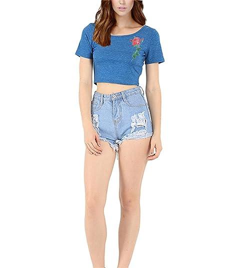 b7116e1d34a71 MOXHH Womens Pattern Print Basic Short Sleeve Scoopneck Crop Top at ...