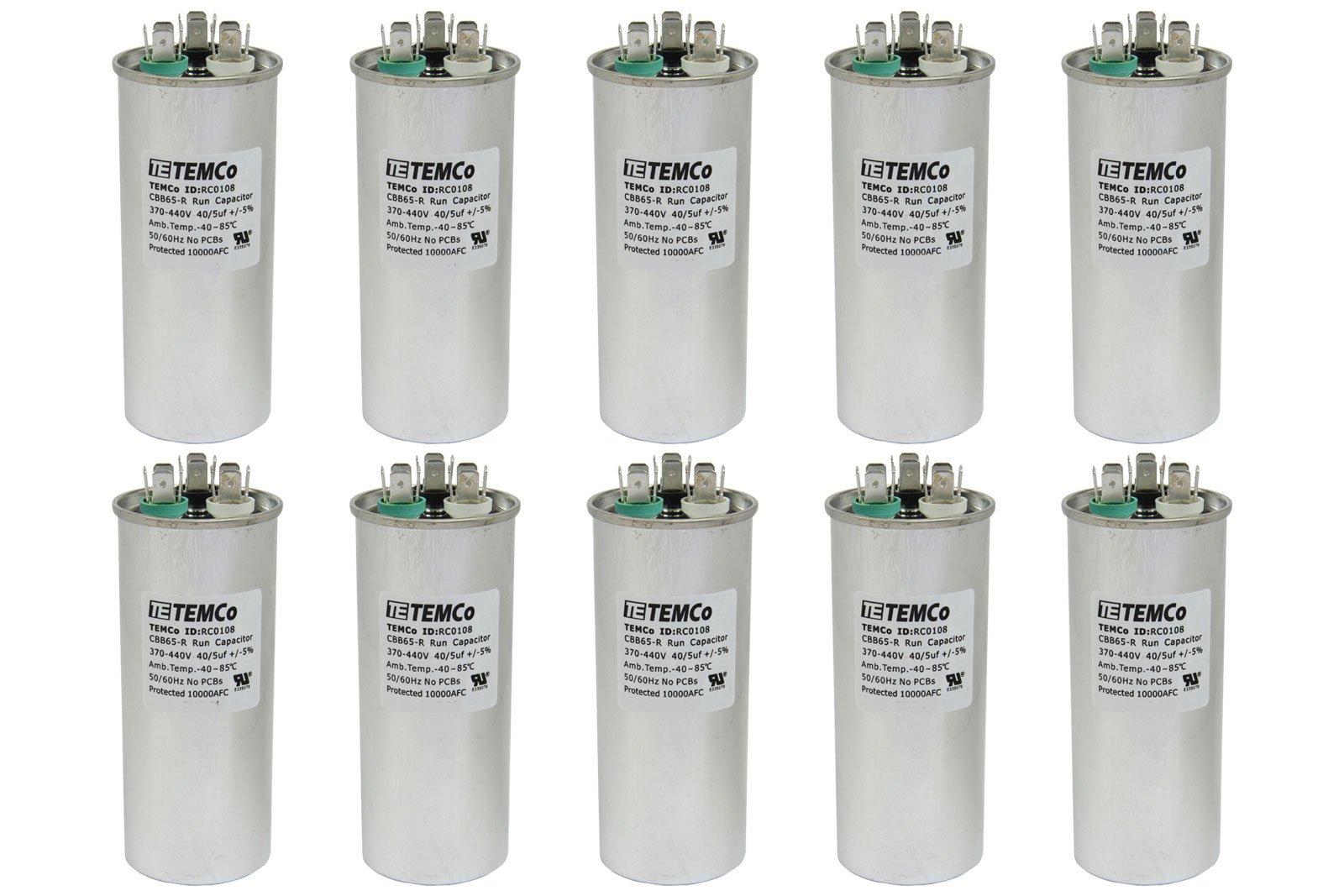TEMCo 10 LOT Dual Run Capacitor RC0110-40/5 mfd 370 V 440 V VAC volt 40+5 uf AC Electric Motor HVAC