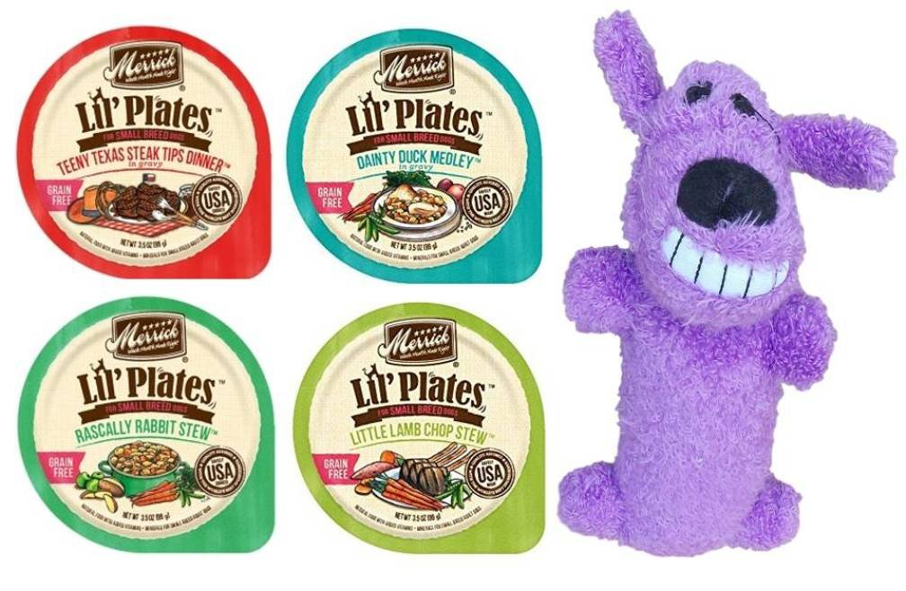 Merrick Lil Plates Grain Free Small Breed Dog Food 4 Flavor Variety 8 Can with Toy Bundle 2 Teeny Texas Steak, 2 Dainty Duck, 2 Rabbit Stew, 2 Lamb Chop Stew, 3.5 Oz Ea 8 Cans, 1 Toy