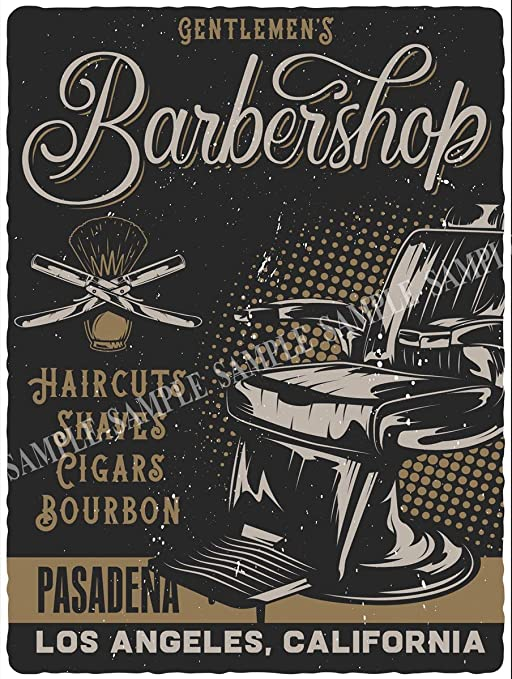 Cartel de Metal de Barbers Shaves & Haircuts, Estilo Retro ...