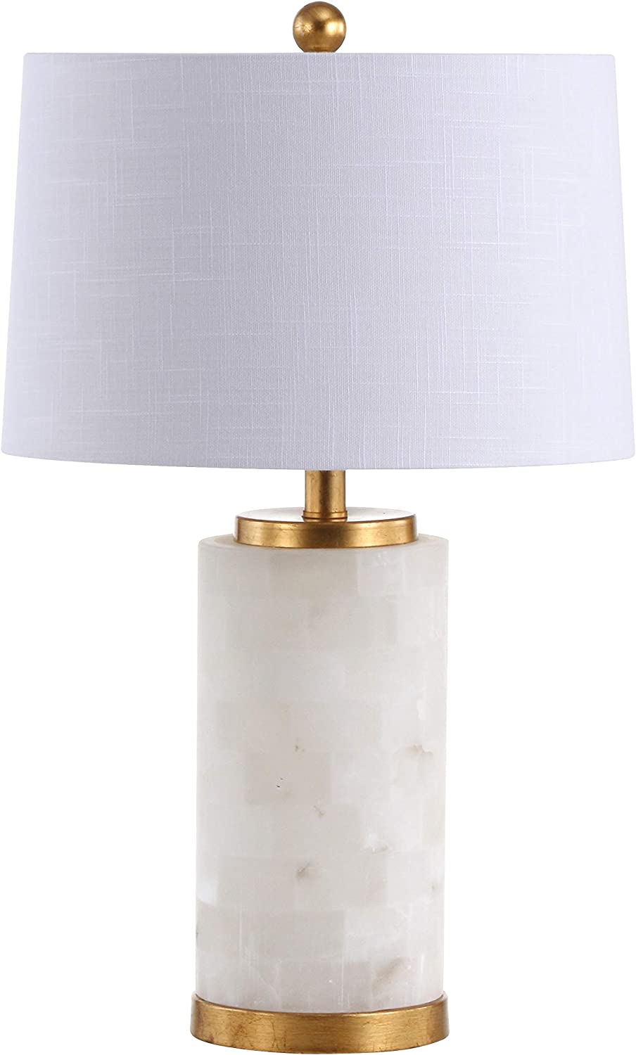 """JONATHAN Y JYL6203A Eliza 25.5"""" Alabaster LED Lamp Coastal,Contemporary,Transitional for Bedroom, Living Room, Office, College Dorm, Coffee Table, Bookcase, White/Gold Leaf"""