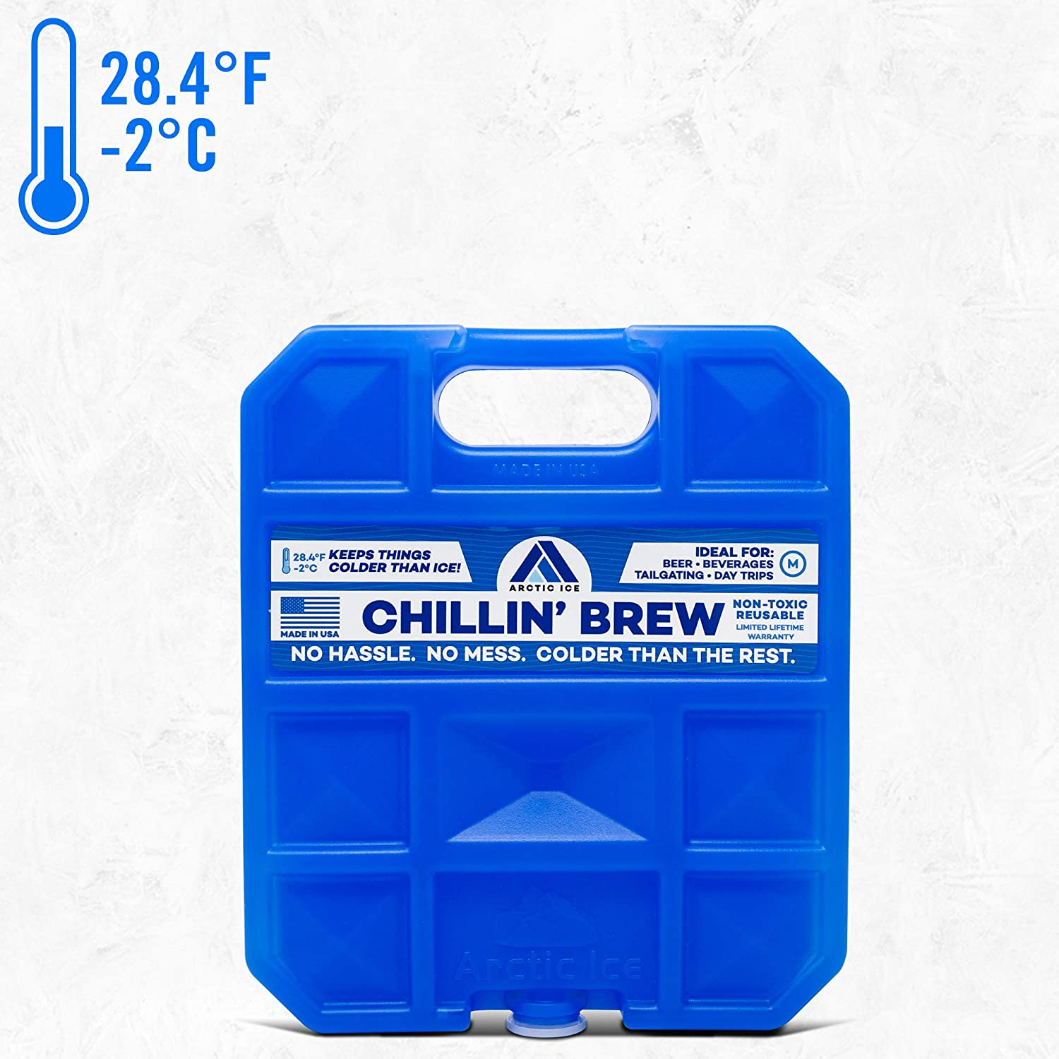 Long Lasting Ice Pack for Coolers, Camping, Fishing and More, Medium Reusable Ice Pack, Chillin' Brew Series by Arctic Ice