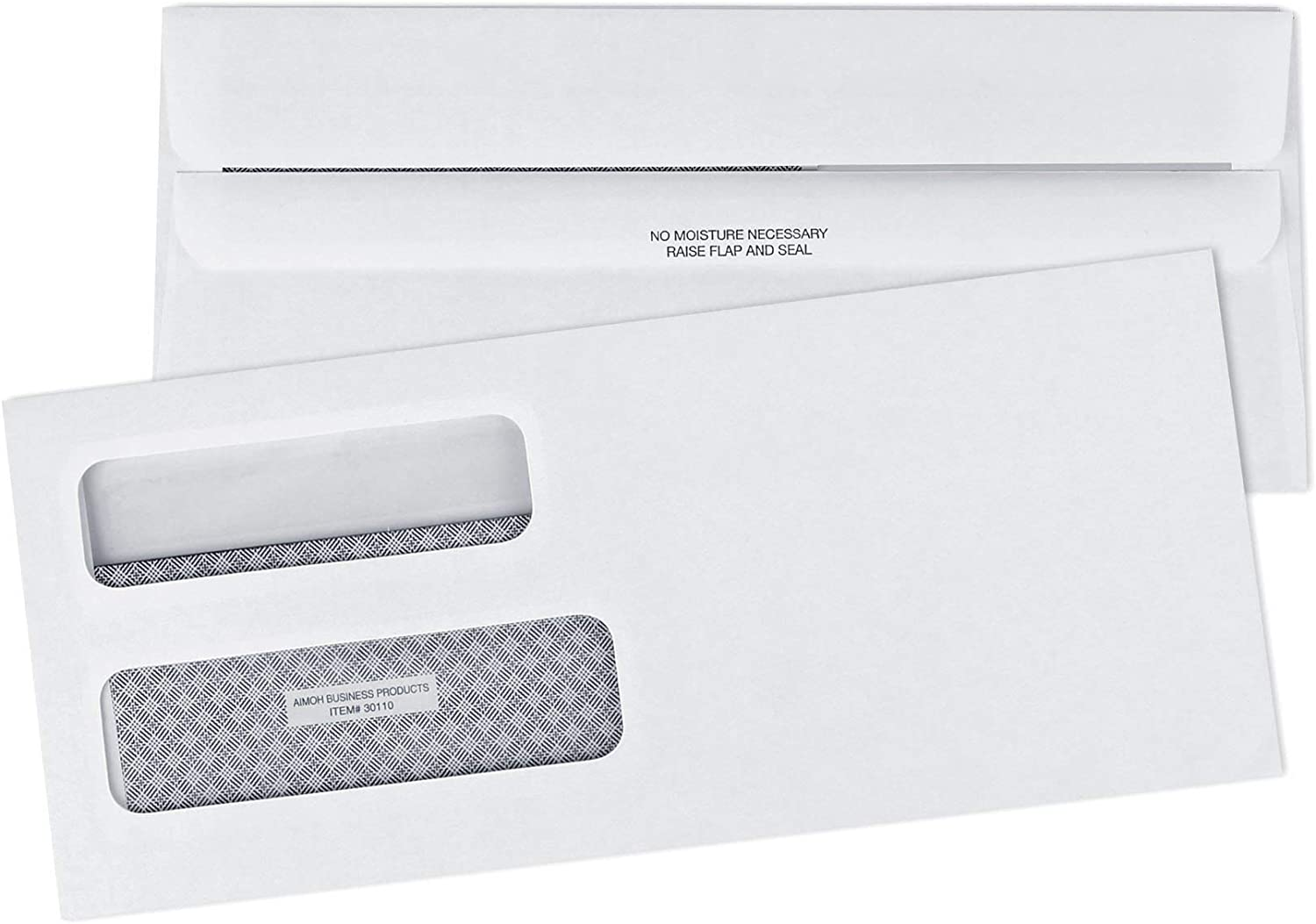 #10 Security FLIP & SEAL Double Window Envelopes - for Invoices, Statements & Legal Documents, Self-Sealing Adhesive Seal, Security Tinted, Size 4-? X 9-½ - 24 LB - 500 Count (30110)