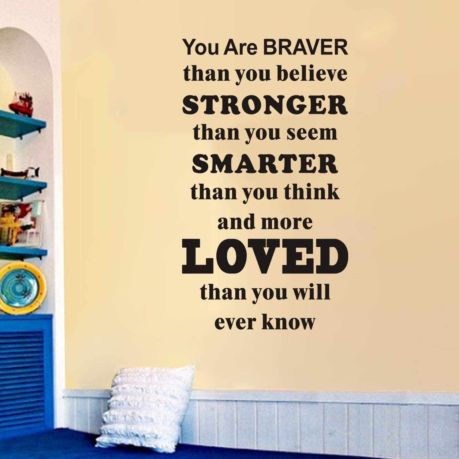 """VODOE Playroom Wall Decals, Quotes Wall Decal, Living Room Bedroom Classroom Nursery Baby Boys Girls Teen Kids Inspirational Vinyl Art Home Decor Stickers You are Braver Than You Believe 16""""x28"""""""